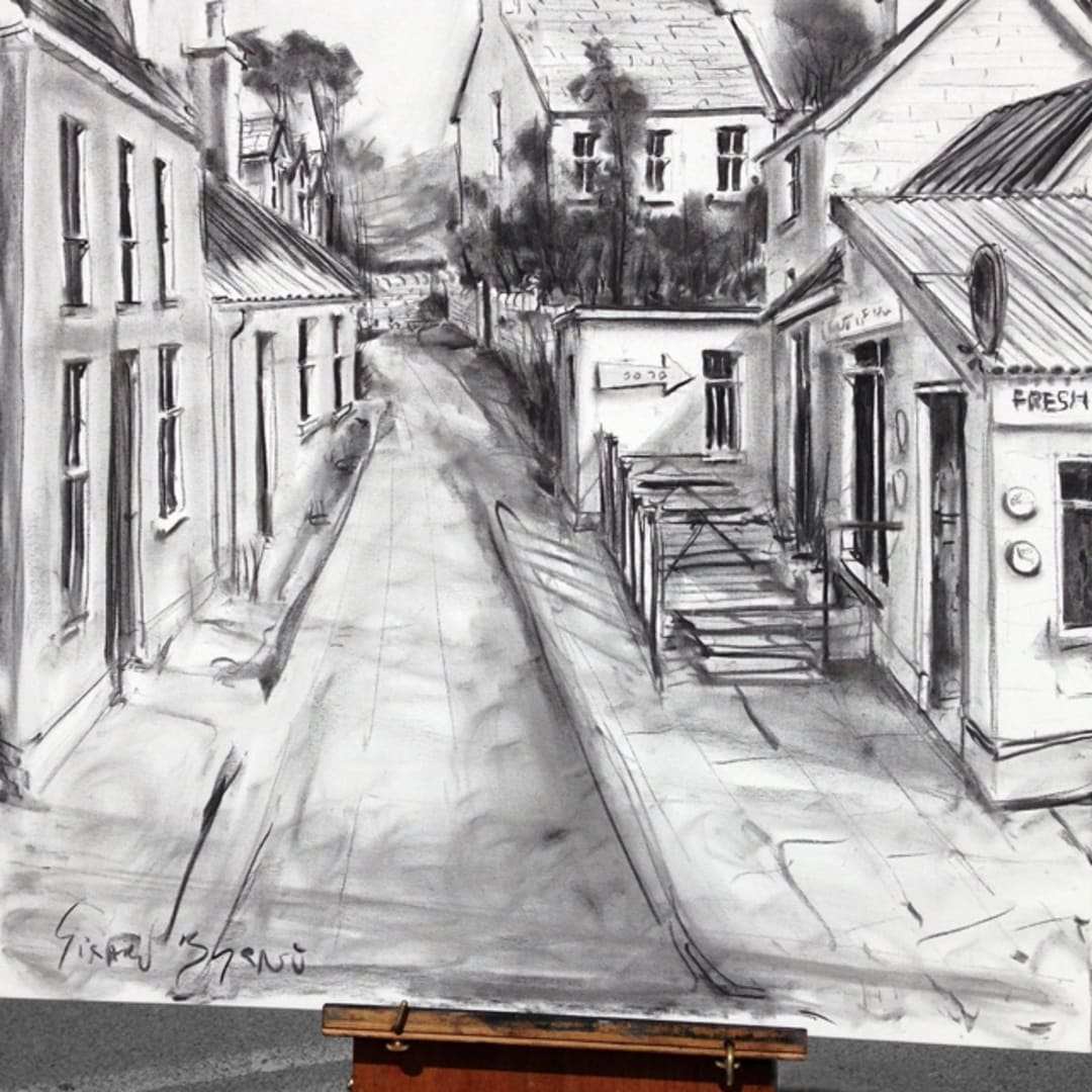 'Out of The Blue' plein air charcoal sketch by Gerard Byrne, Dingle