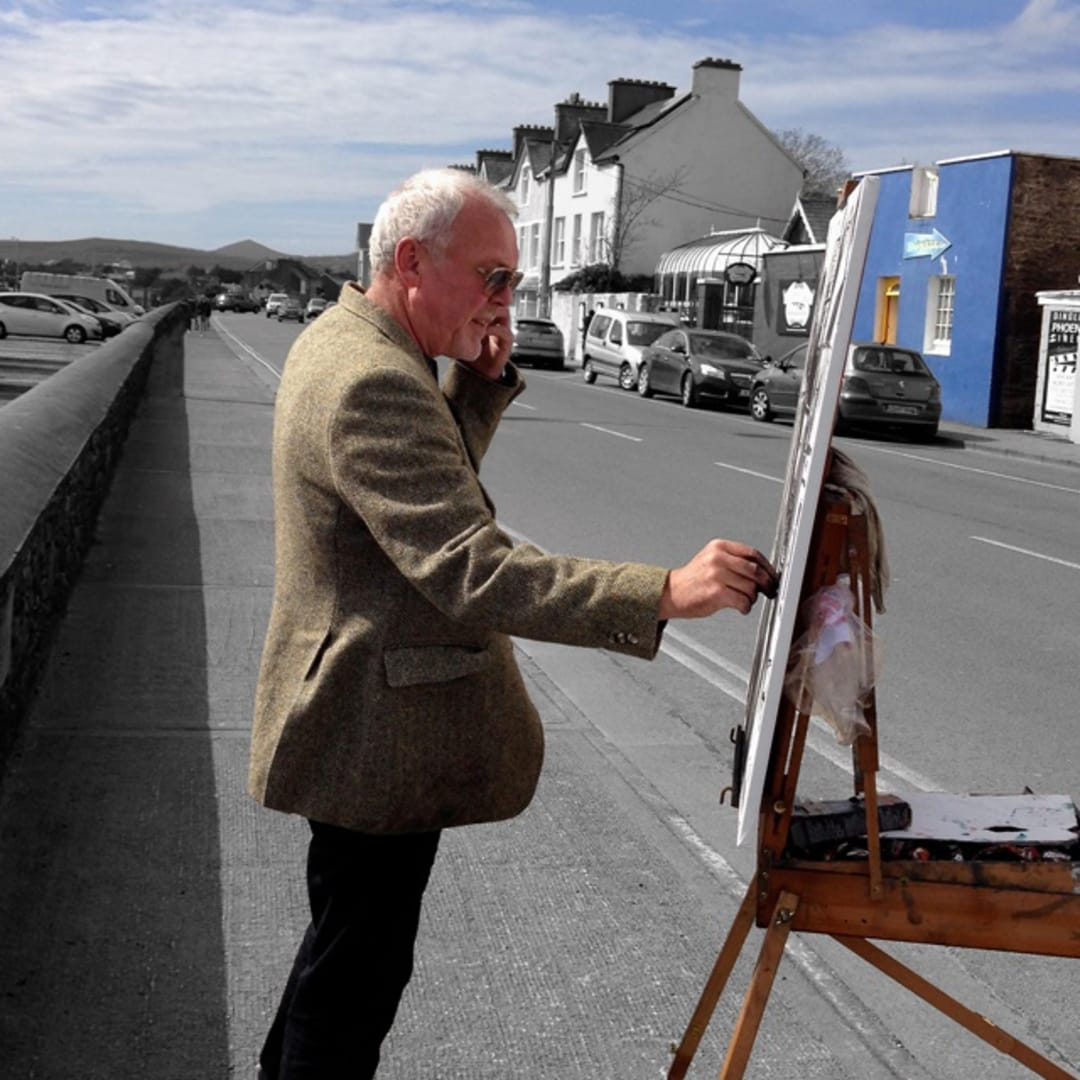 Gerard Byrne sketching plein air 'Out of The Blue', Dingle