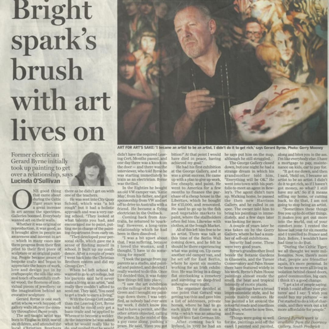 Gerard Byrne, Bright Spark's brush with art lives on Lucinda O'Sullivan Irish artist Irish independent contemporary figurative landscape Dalkey Ireland