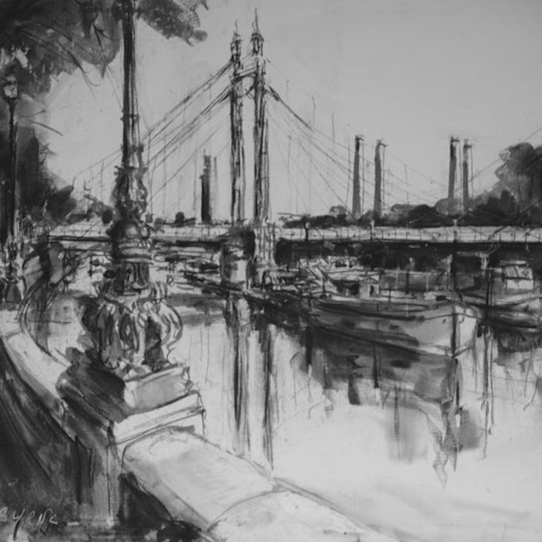 Albert-Bridge-London-charcoal-on-canvas-by-Gerard-Byrne