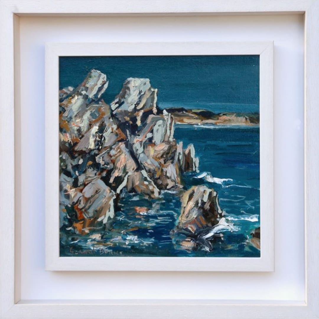 5 RAFFLE PAINTING Gerard Byrne 'Croatian Rocks' oil on canvas 30x30cm (canvas) / 46x46cm (framed) with non reflective glass /...