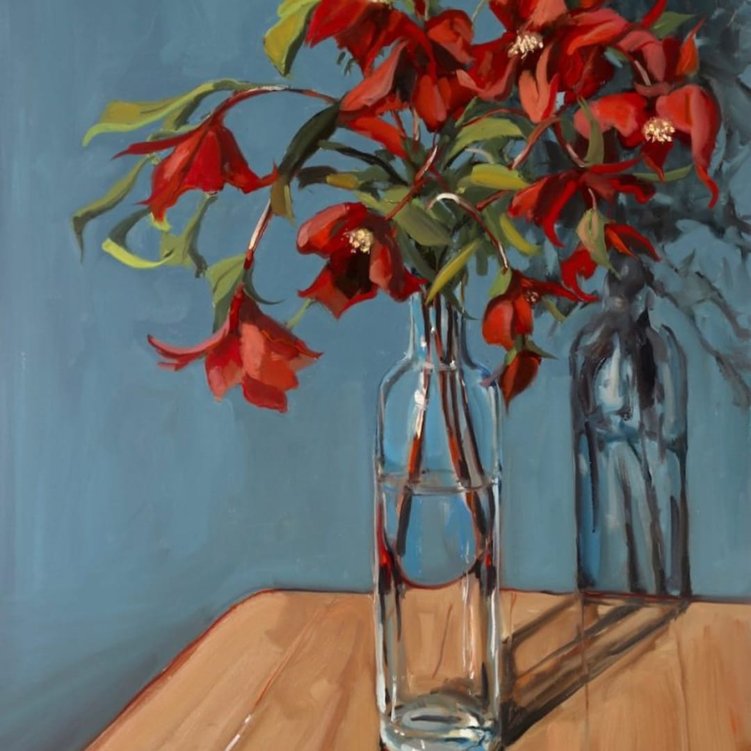 3 Gerard Byrne 'Still Life with Hellebores' oil on canvas 60x90cm (canvas) / guiding at €5,000 to €6,000