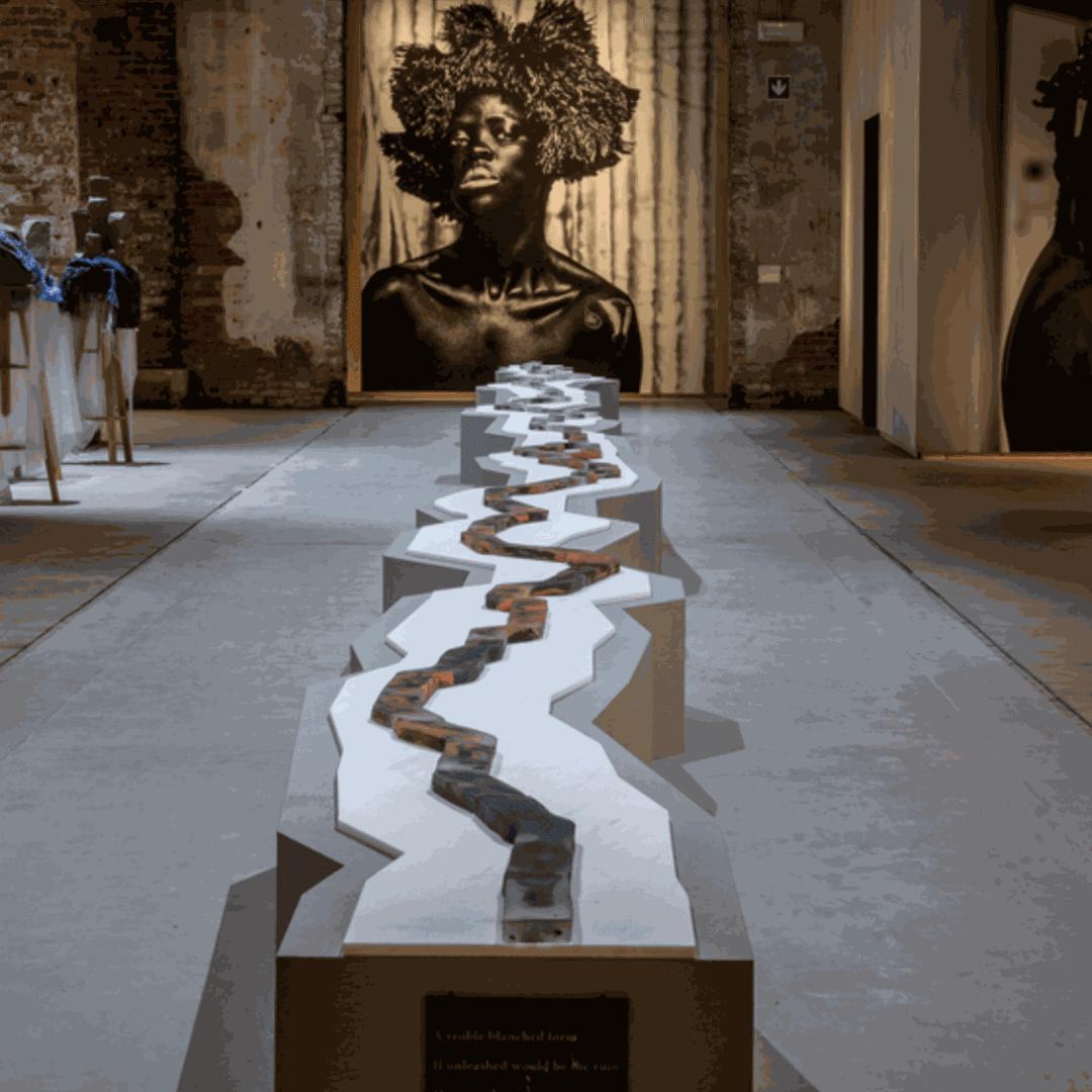 Otobong Nkanga, Veins Aligned (2018), Marble Lasa Venato Fior di Melo, Murano glass and paint