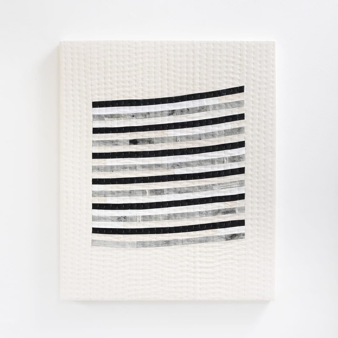 Abigail Booth, Come / Go, 2019, Cotton charcoal, seaweed ash, beeswax, linseed oil, reclaimed cottons, thread, 85 x 65 cm. Image copyright of the artist.