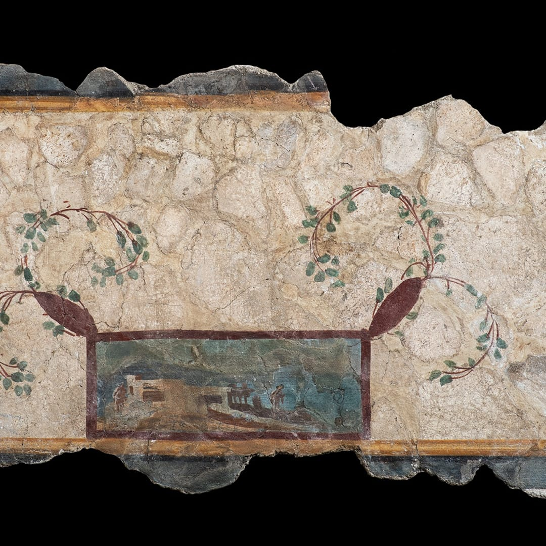 A Roman polychrome painted fresco fragment, Third Pompeian Style, early 1st century AD