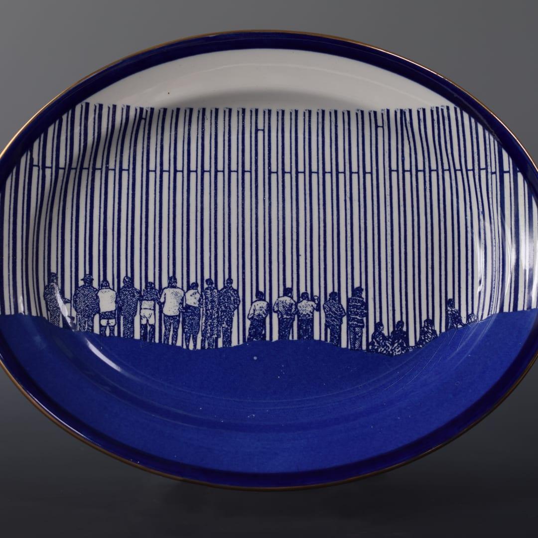 Cumbrian Blue(s) New American Scenery, Across the Borderline (Trumpian Campaigne No:5), 2020. In-glaze decal collage on Lawleys Empire Ware