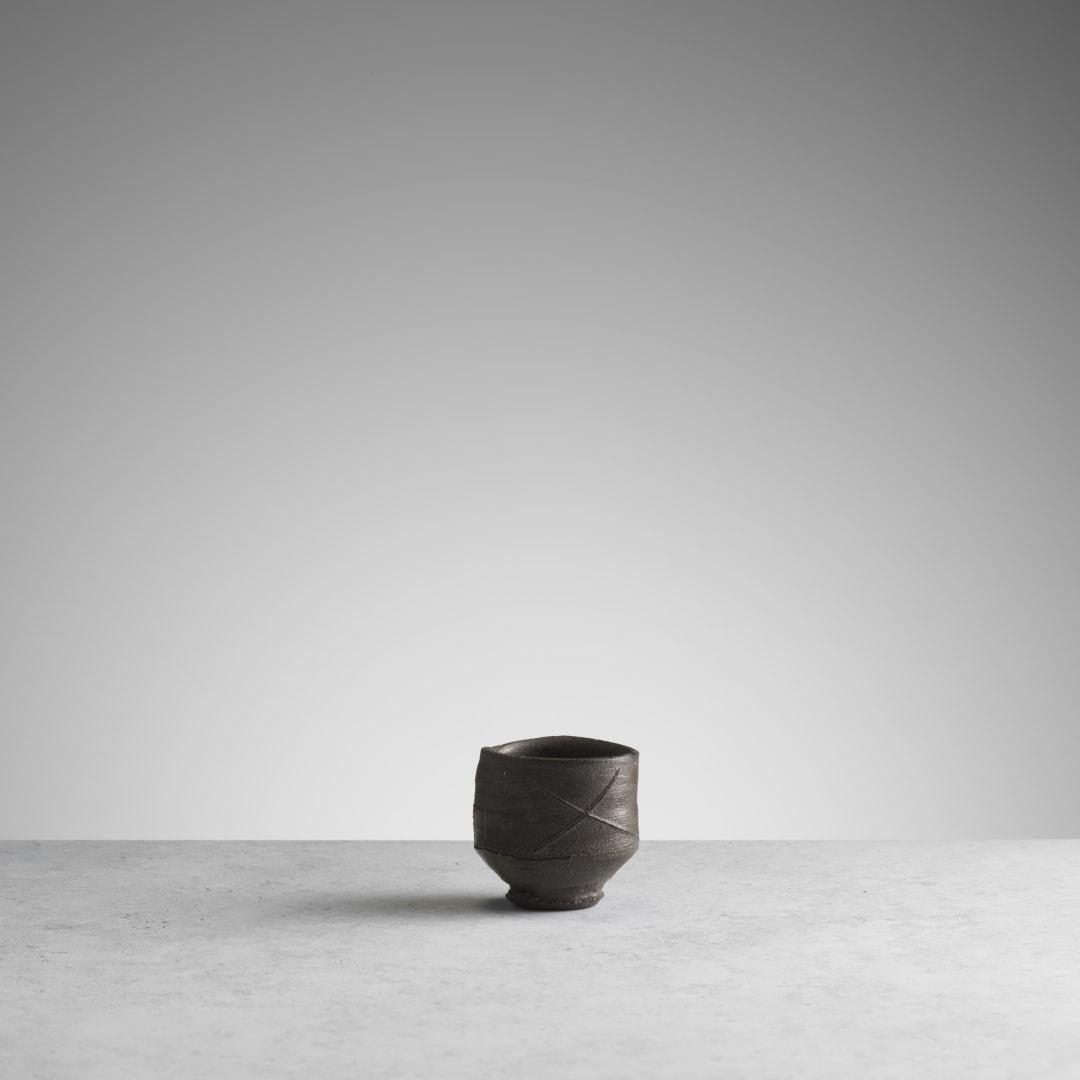 Sake cup, stoneware, wood fired, made at the studio of Peter Voulkos (RK048) © Michael Harvey