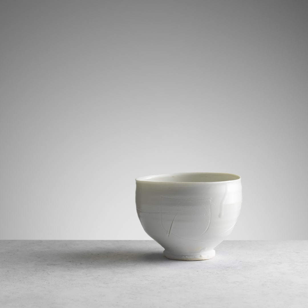 Porcelain Teabow, with carved artist's marks and dripped celadon glaze (RK100) © Michael Harvey