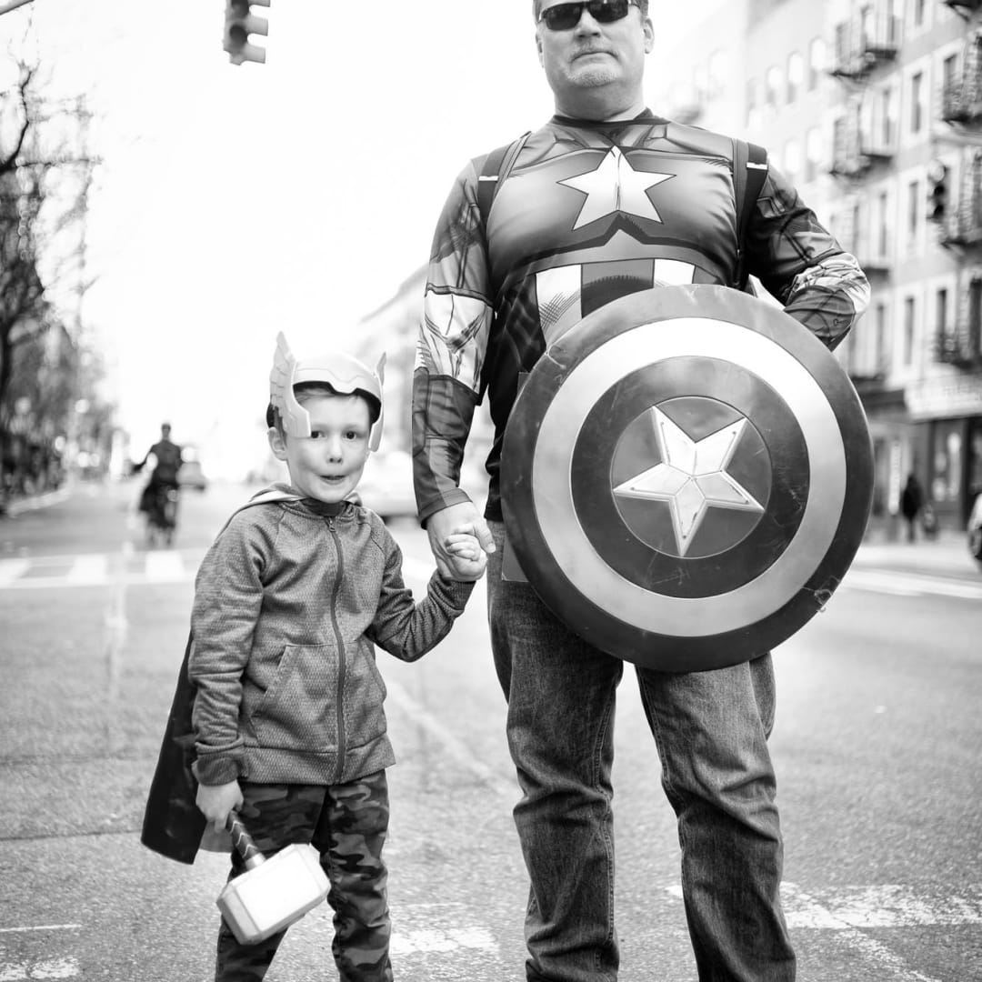 Father and Son super Heroes on 10th Avenue