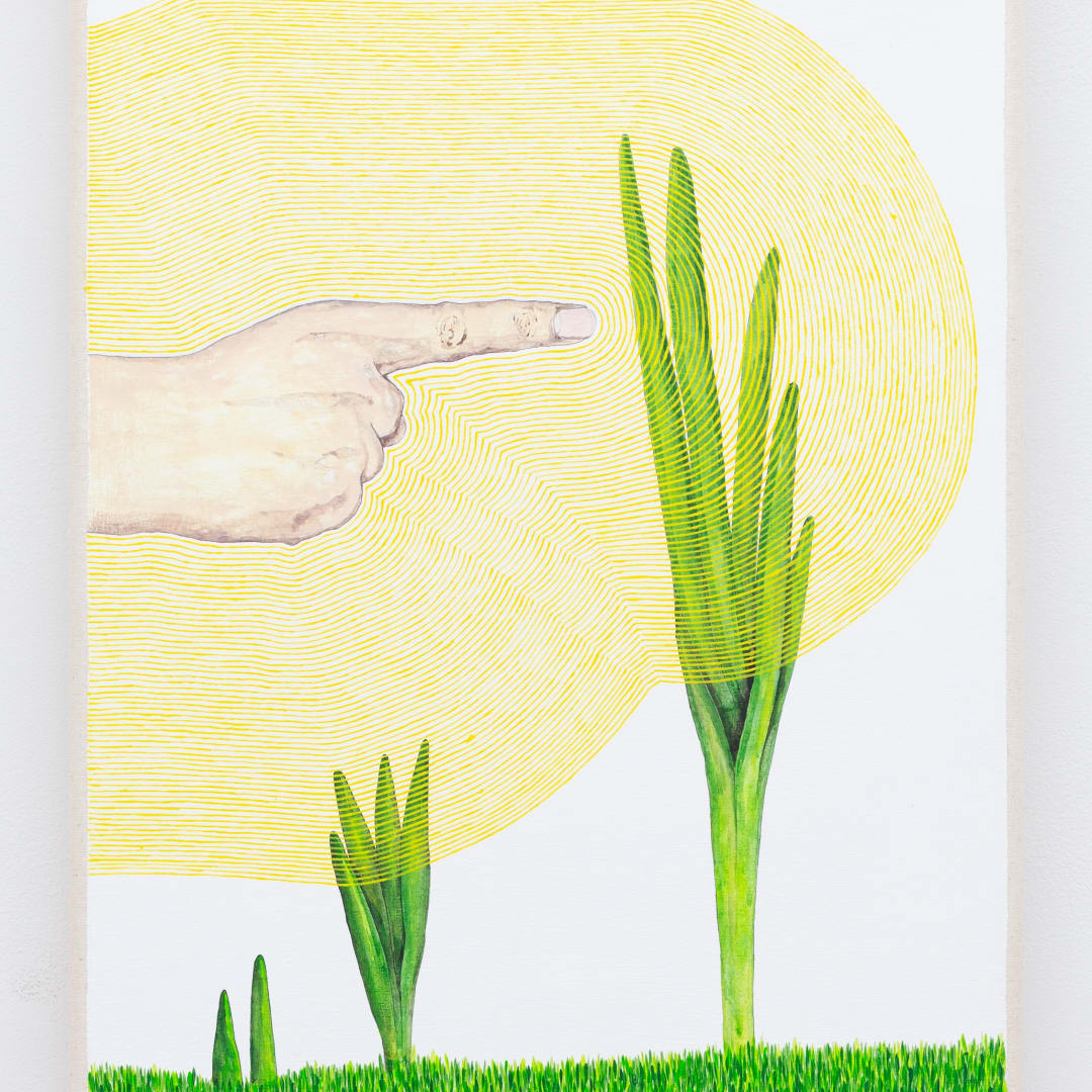 Zina Swanson, Stunt (Pointing at a Daffodil will keep it from blooming), 2020 acrylic on canvas, 35 x 25 cm