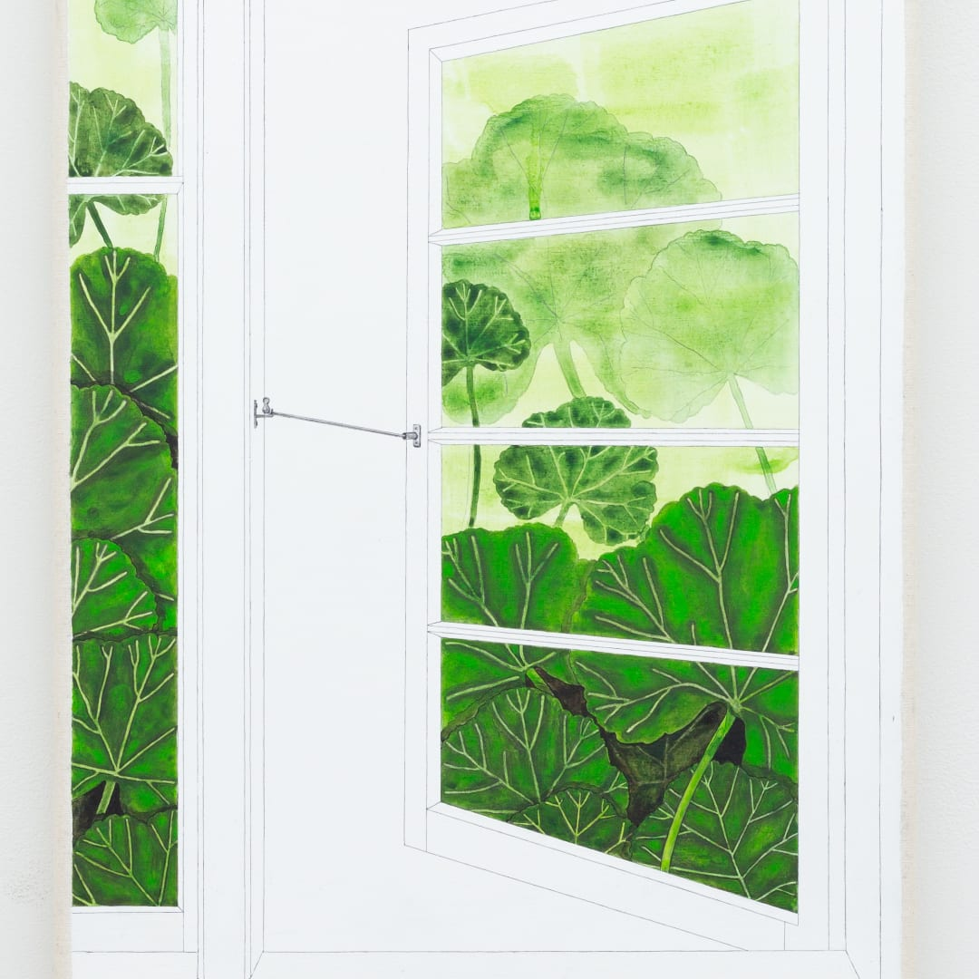 Zina Swanson, Idris Window with Geranium (Geraniums growing in an open window will prevent flies from entering the room), 2020 acrylic on canvas, 35 x 25 cm