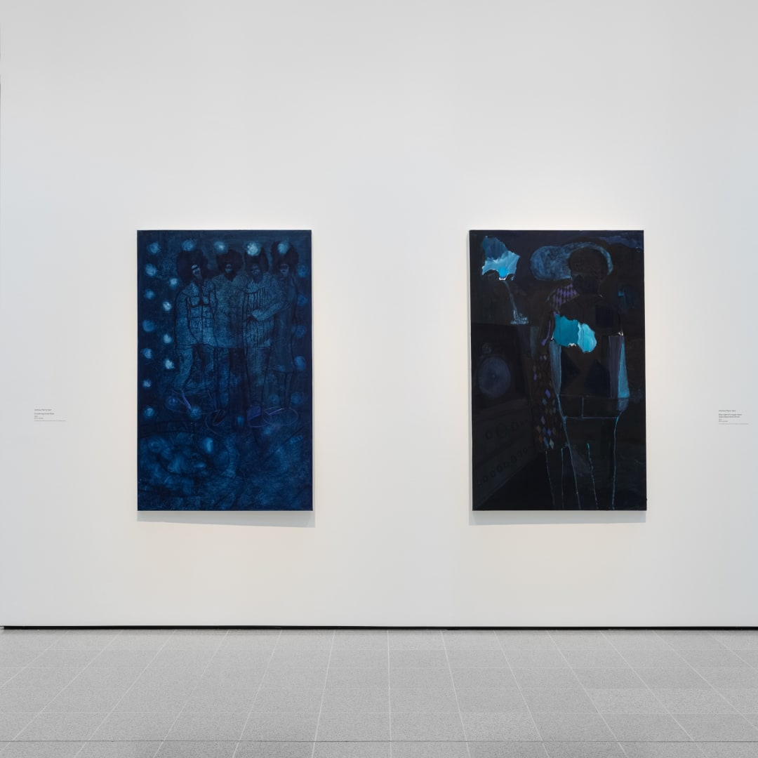 Installation view of Andrew Pierre Hart's work in Mixing It Up: Painting Today at Hayward Gallery, 2021. Courtesy of Hayward Gallery. Photo: Rob Harris.