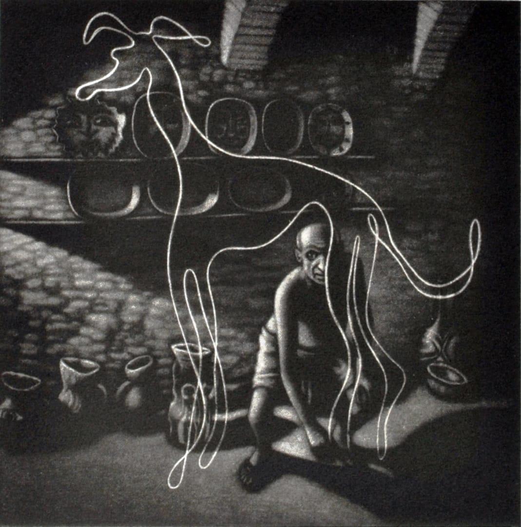 Mychael Barratt PRE, Picasso's Dog 1, mezzotint