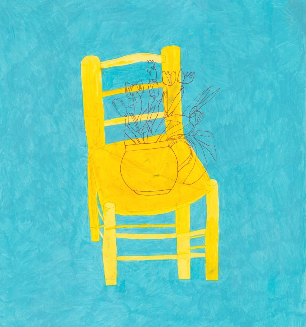 Jack Haslam, Yellow Chair and Tulips, watercolour & acrylic