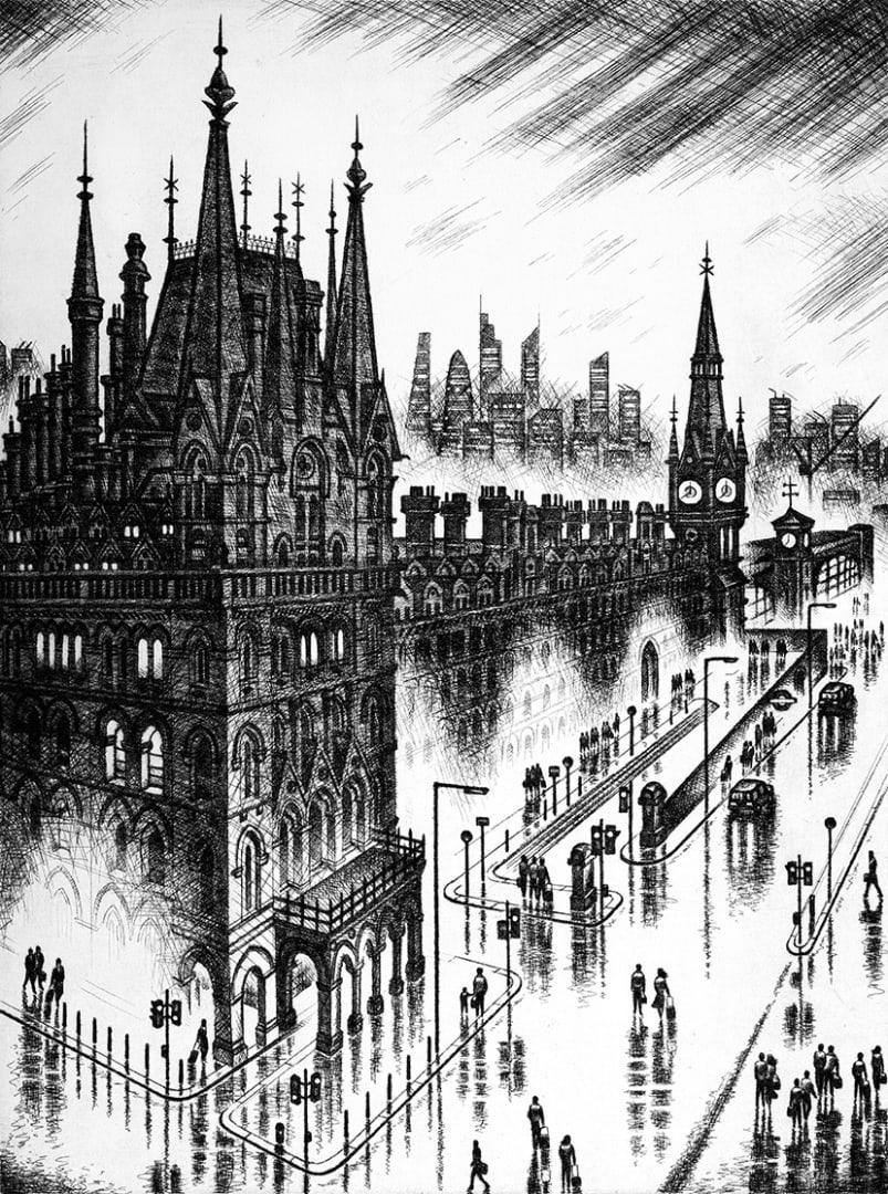 John Duffin RE, King's Cross, etching