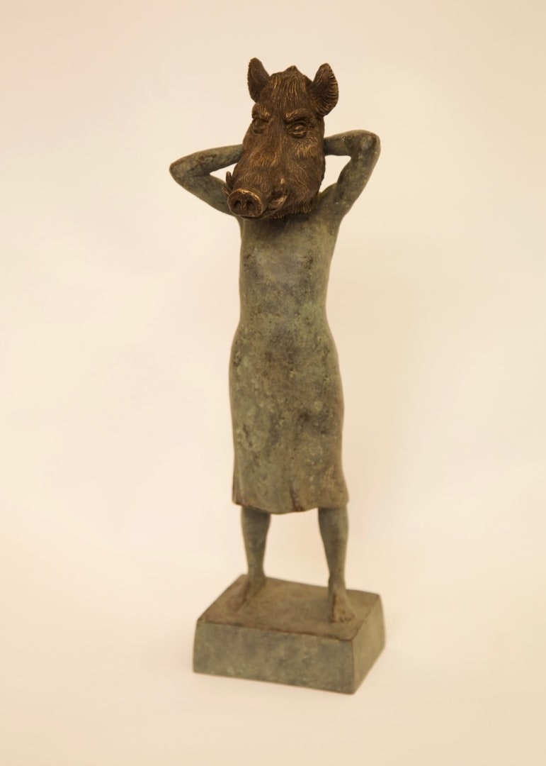 Thomas J. Ridley, Mrs Joad putting on a Boar's Mask, bronze