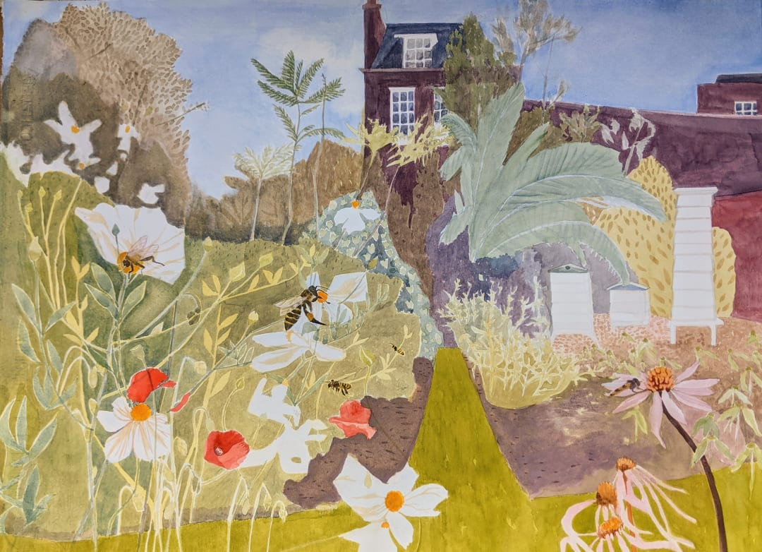 Suzy Fasht ARWS, Bees love Flowers, Flowers love Bees