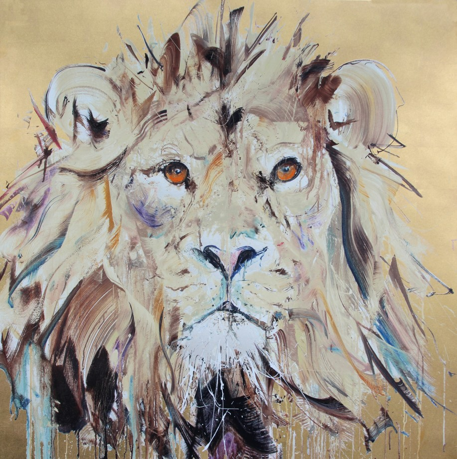 Lion II Gold Leaf Silkscreen