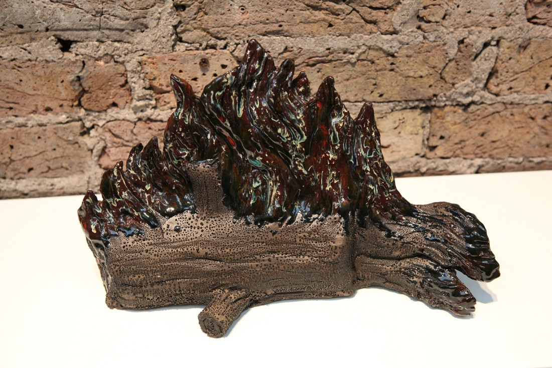 Laura Ford Burning Log Glazed Ceramic 27 x 41 x 15 cm