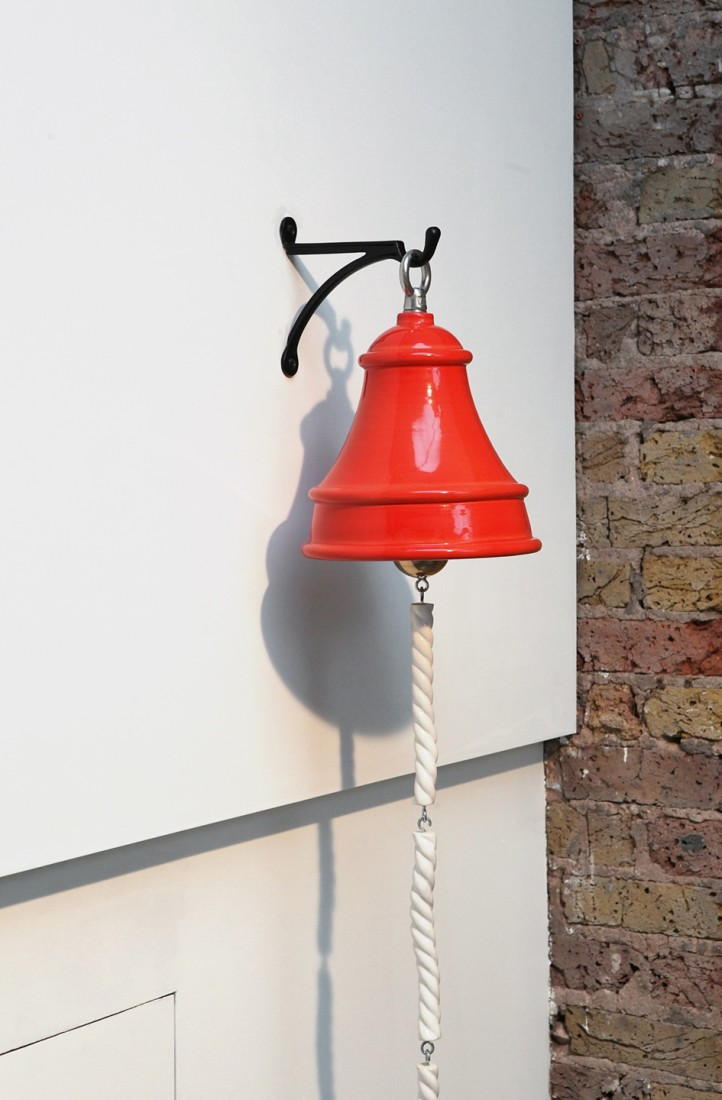 Richard Slee Fire Bell, 2016 Ceramic, metal 30 x 24 cm diam Rope - 23 x 3 x 3 cm (4 pieces)