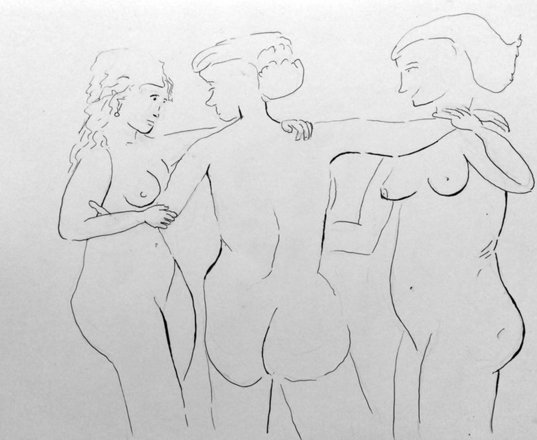 Jerry Wellman, The Three Graces after Peter Paul Rubens, 2017