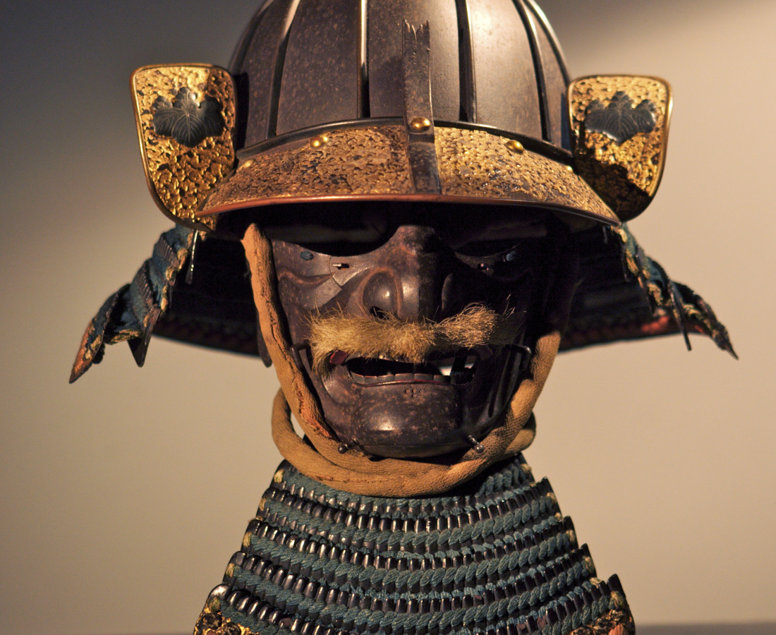Samurai Arts, Heavy 8 plate samurai helmet and mask, c.1600