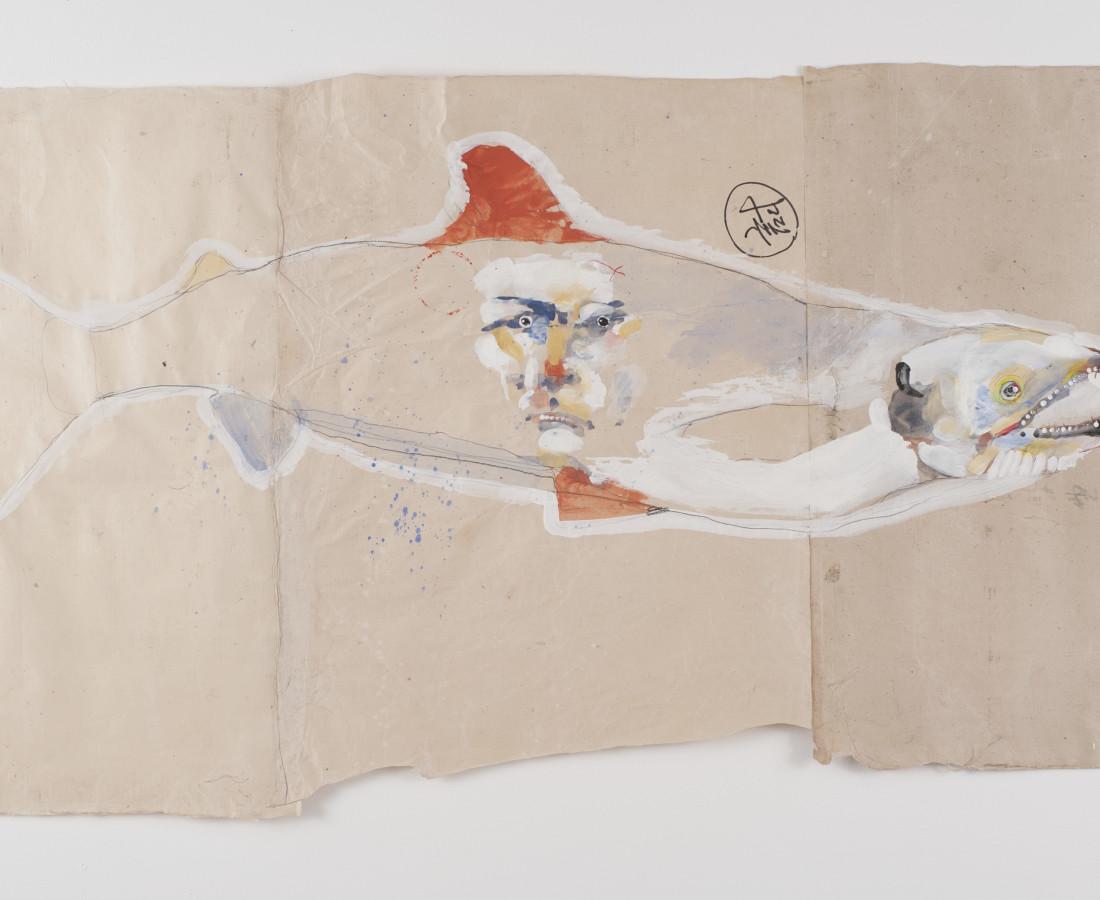Rick Bartow, Autumnal Metaphor 9, Salmon (red fin), 2014