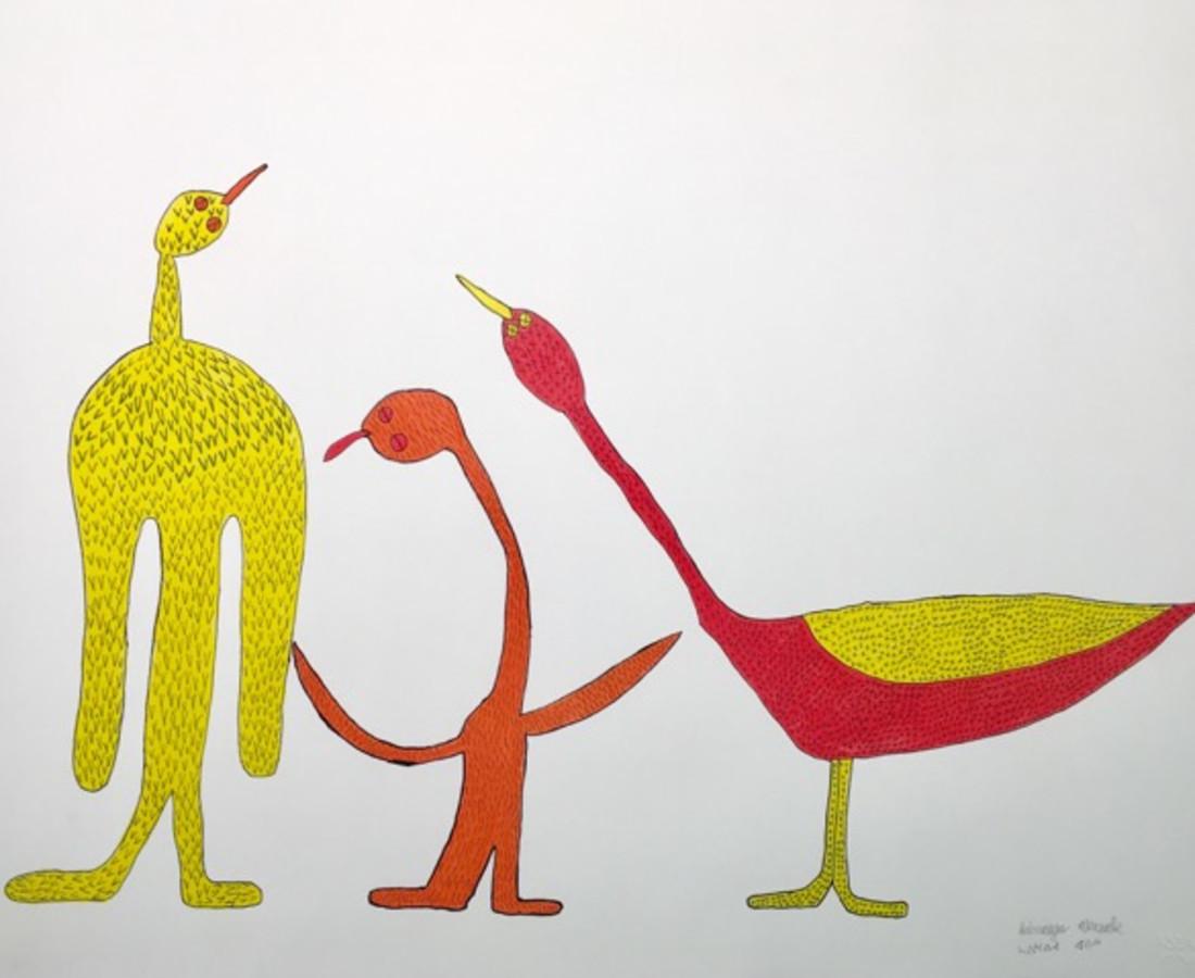 Saimaiyu Akesuk, Untitled (Three Birds), 2017
