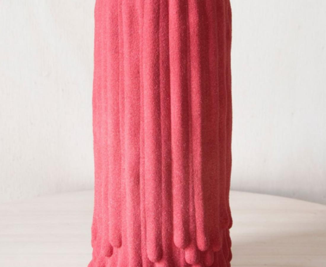 Cécile Bichon, Vases souche basaltique rose sablé au coeur noir brillant , 2019