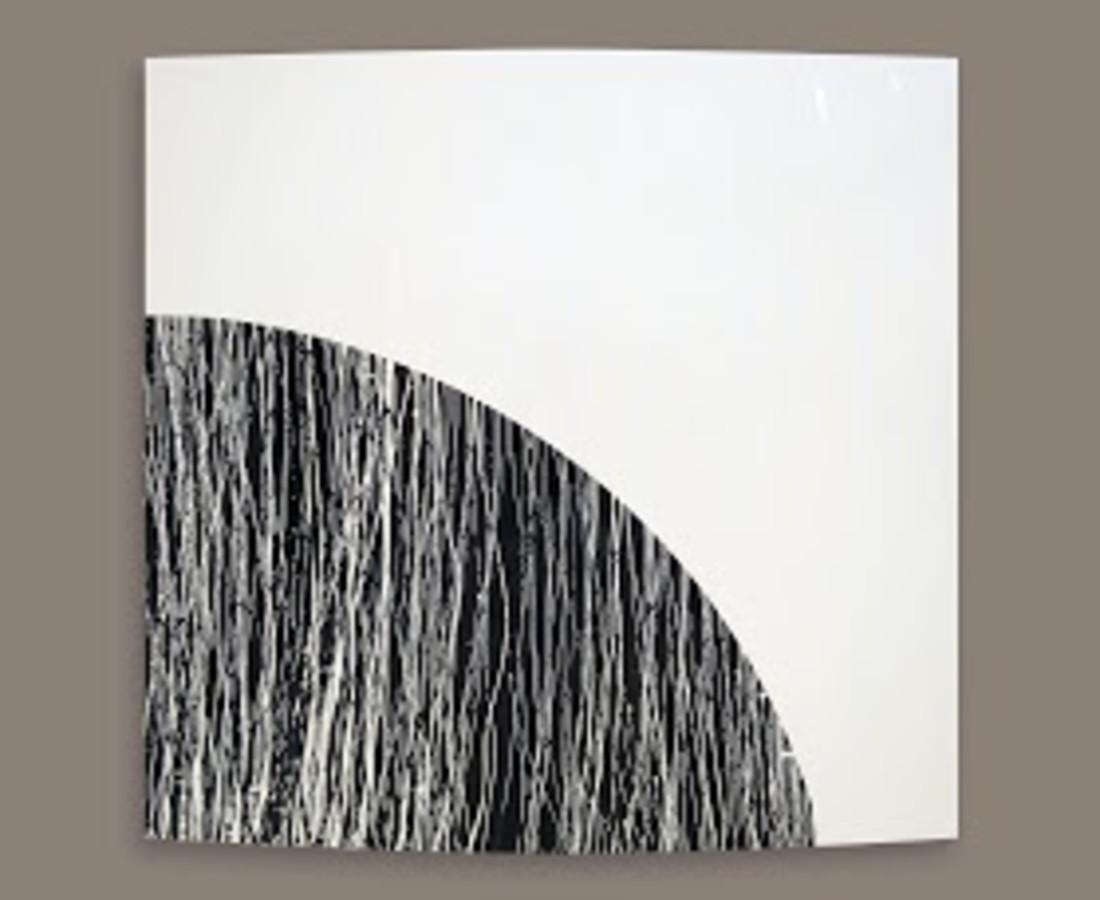 Rashid Al Khalifa, Black with White Lines, 2013