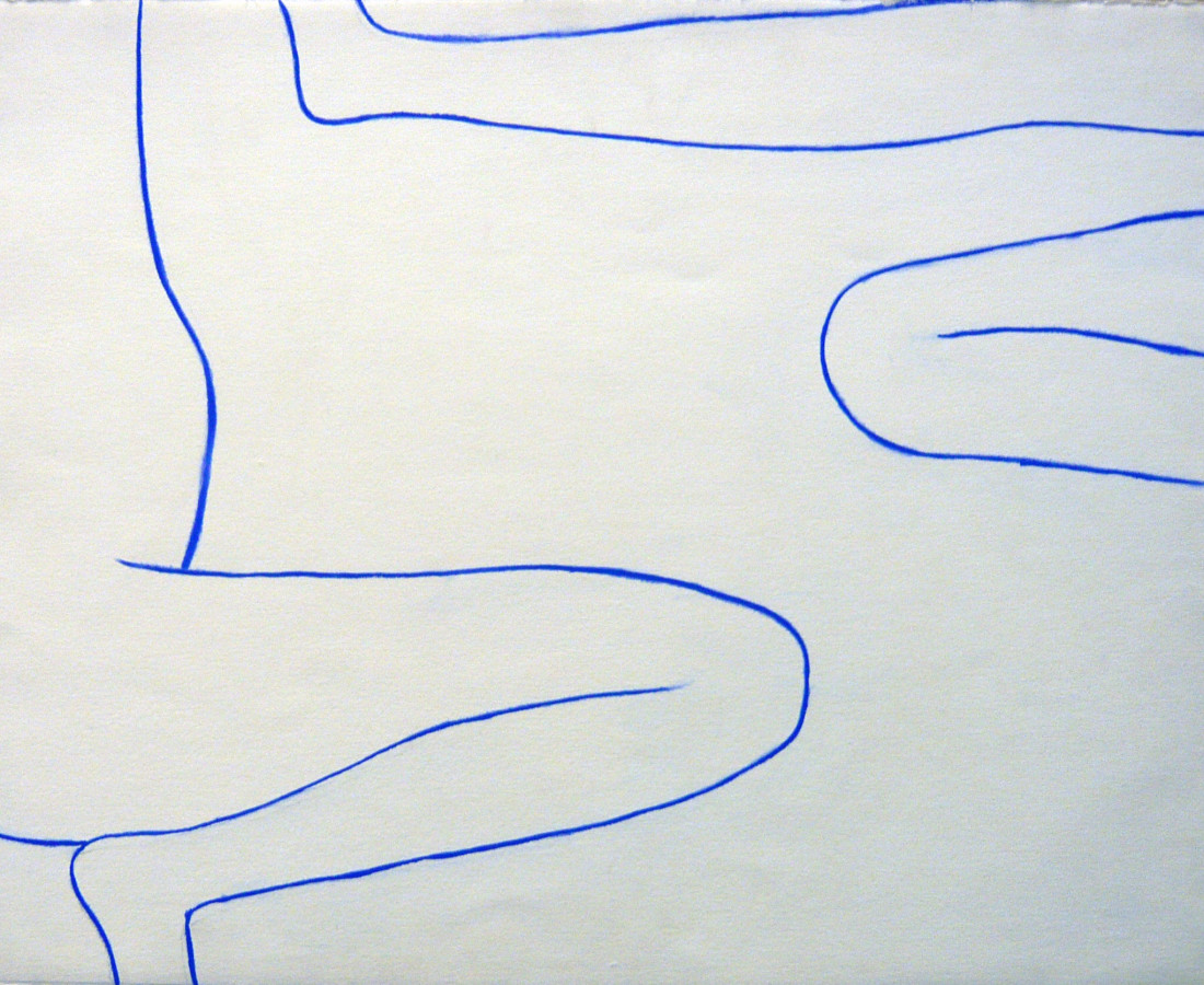 William Scott, A Girl Surveyed - Drawing in Blue No 8 , 1970
