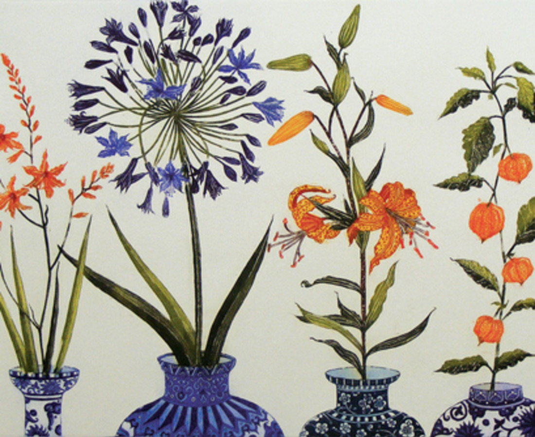 Jean Bardon, Montbretia, Agapanthus, Tiger Lily and Chinese Lanterns