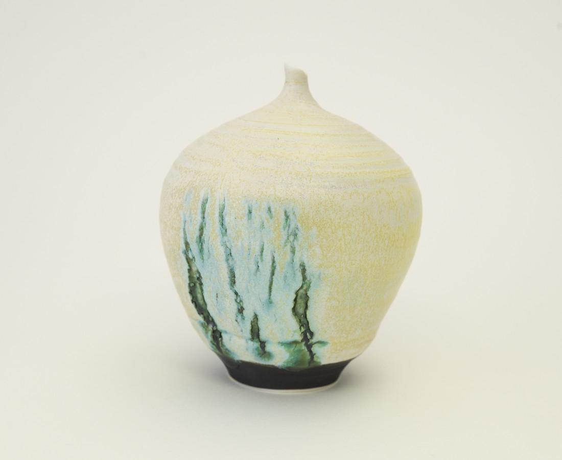 Hugh West, Bottle Vase Open Green Cracks