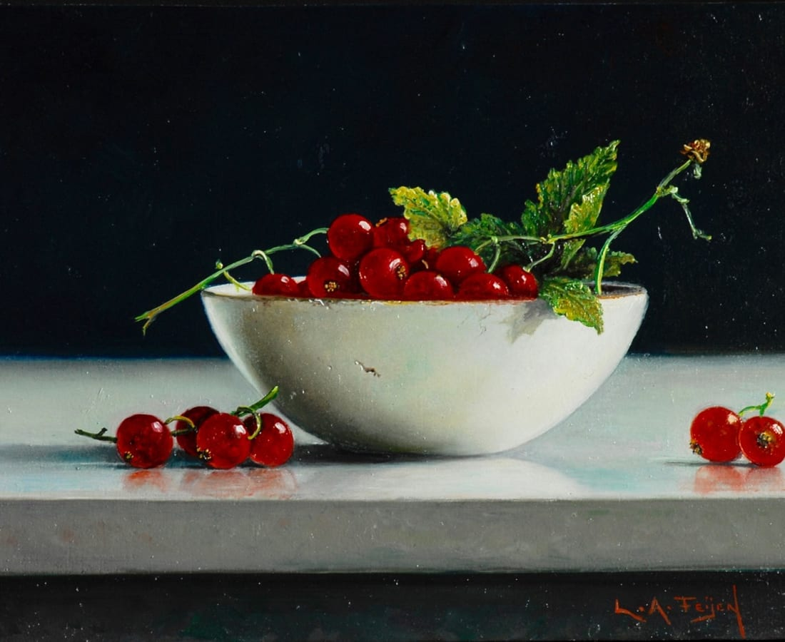 Lion Feijen, White Bowl with Redcurrants