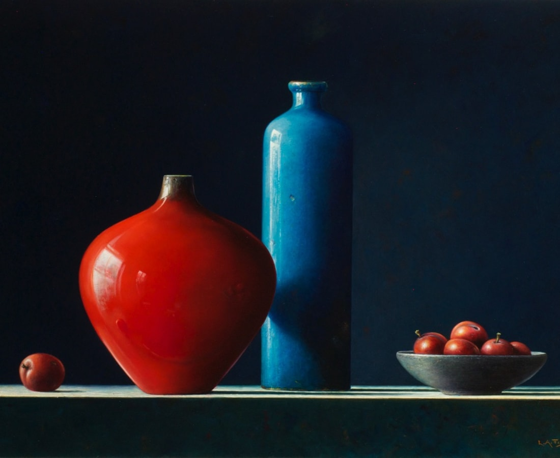Lion Feijen, Red & Blue Pots with Plums