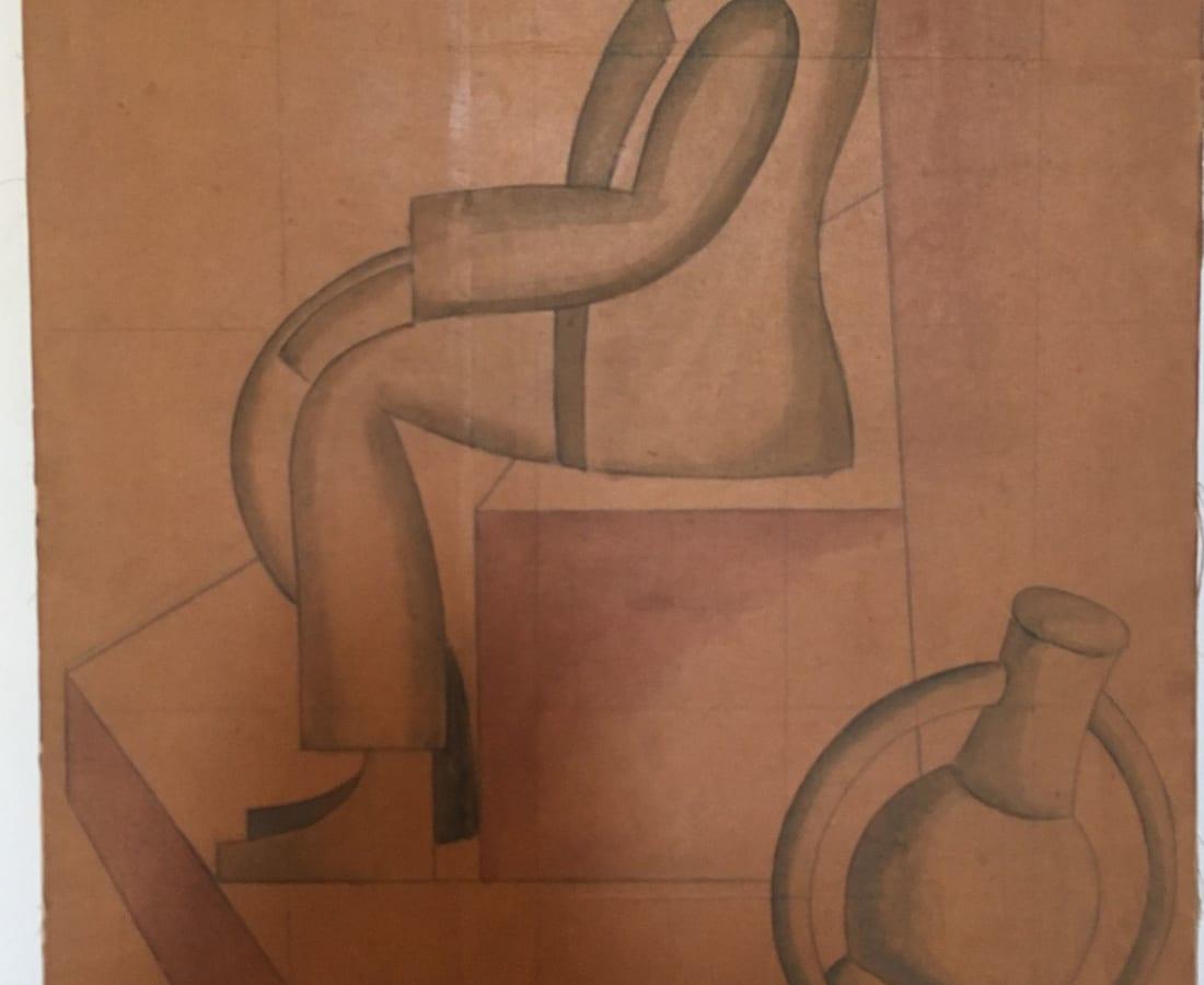 Fortunato Depero, Uomo seduto con pipa, 1920