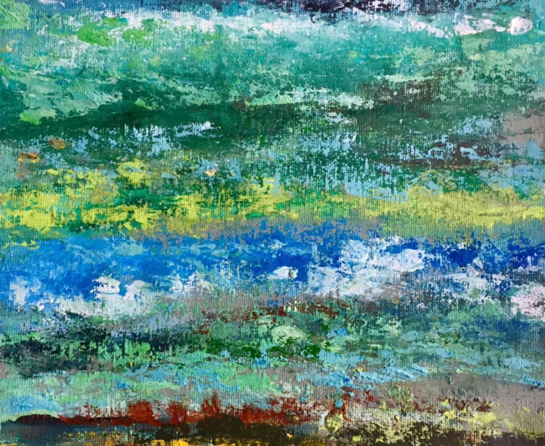 Victoria Borisova, Blue-Green obsession III (Framed 11x14), 2017