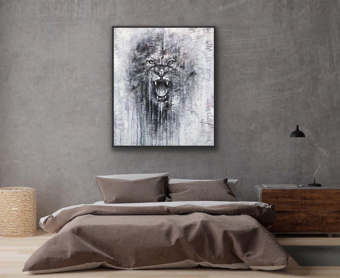 King Leo Mixed media on OSB 150 x 120 cm