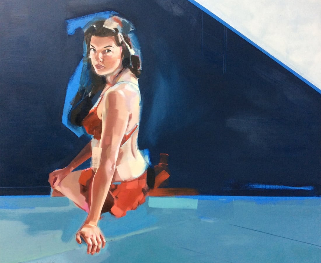 Clare Bonnet, 'Pool Side', Oil on panel, H 100 cm x 100 cm