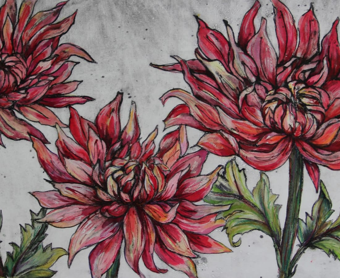 Vicky Oldfield, Dancing Dahlias, collagraph print