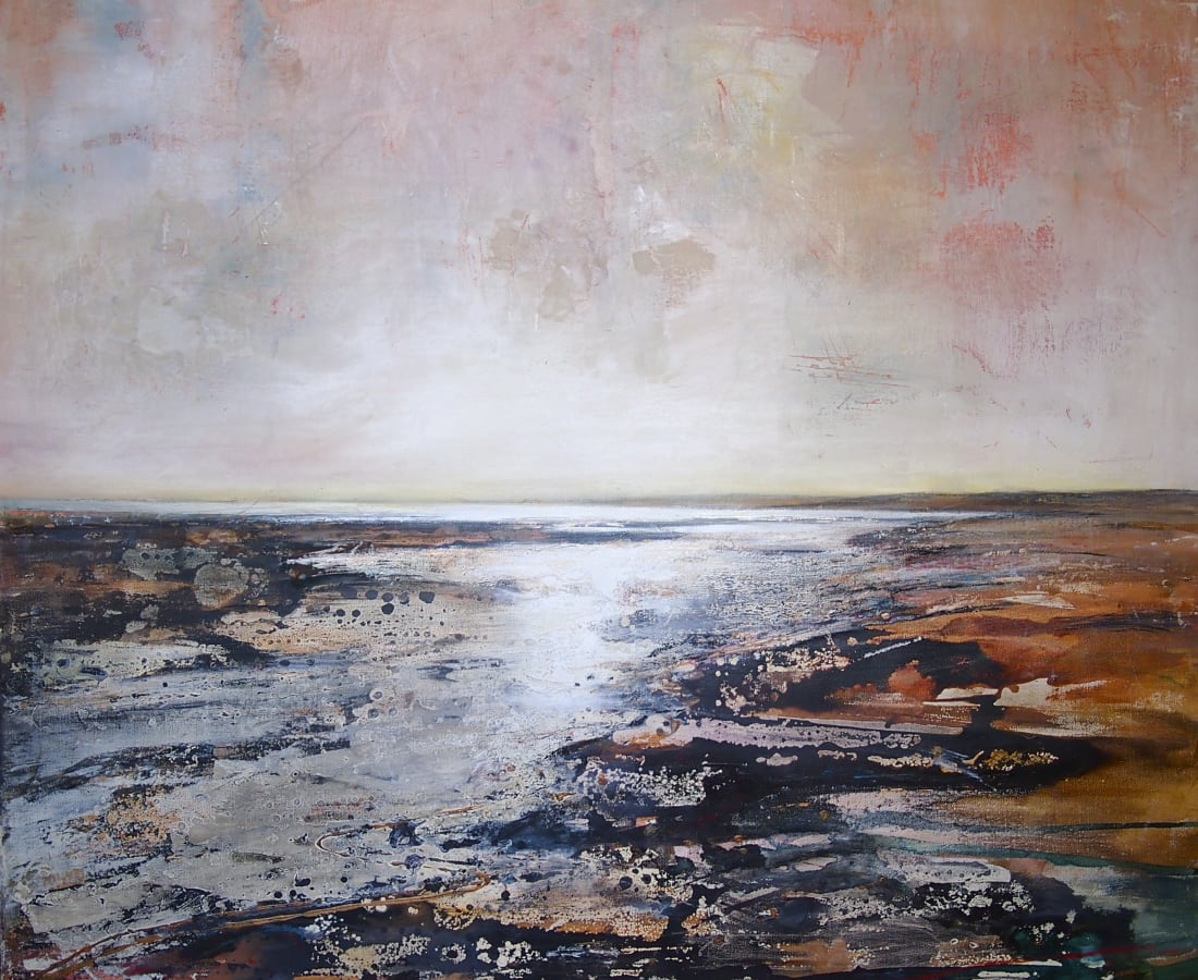 Peter Kettle, 'Gwendraeth Estuary 2' Plaster, oil, acrylic, ink on canvas 100cm x 100cm