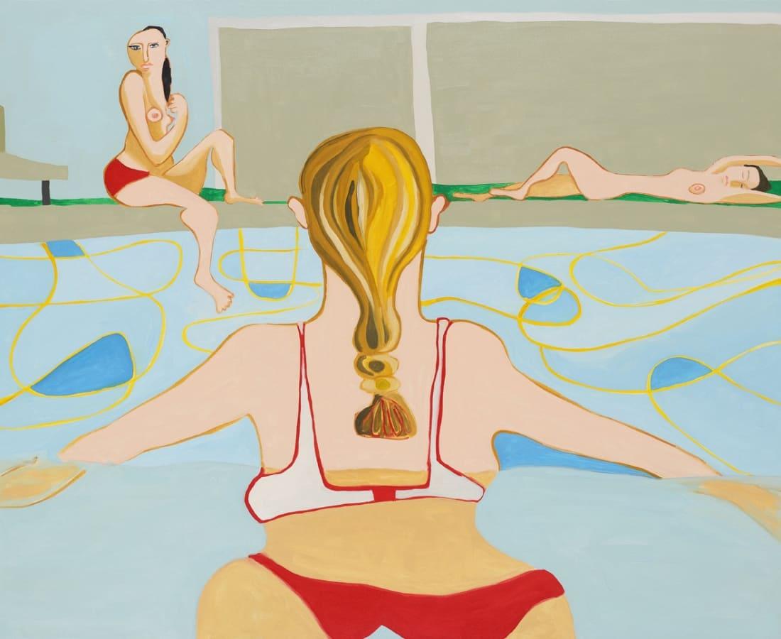 Henrietta Dubrey, 'Swimming Pool', oil on canvas, H 105 x 130 cm