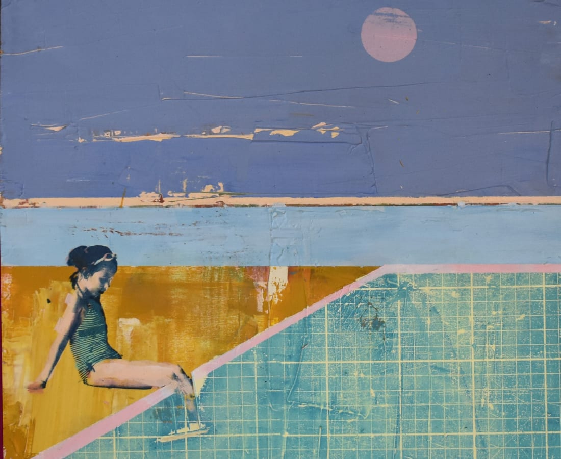 Dan Parry Jones, 'Lido, Pink Moon', mixed media on board, H 50 x 50 cm