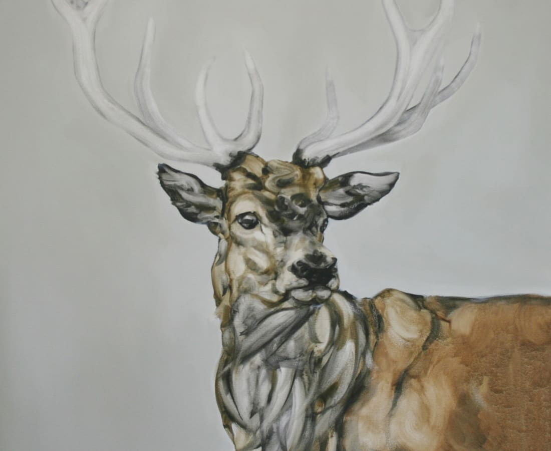 Abigail Reed, Red Deer With Grey Sky