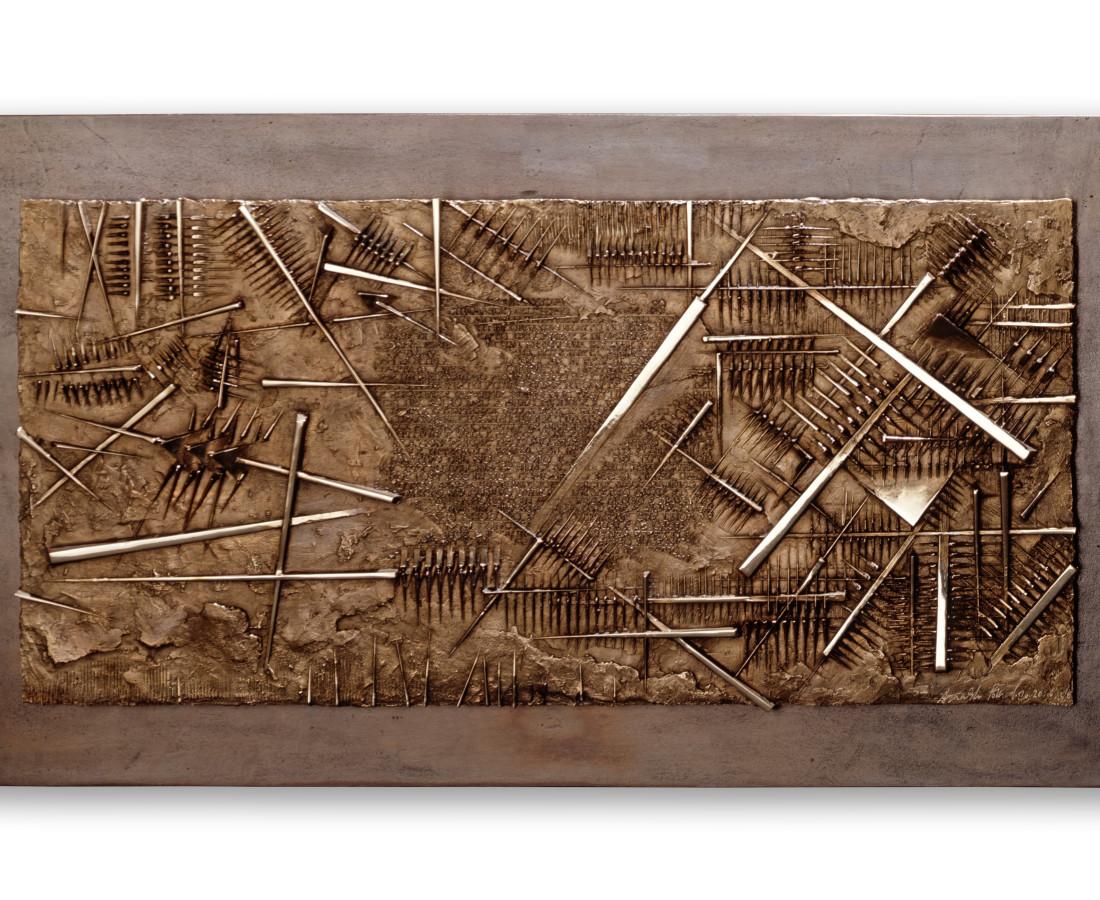 Arnaldo Pomodoro, Frammento V, da L'Arte dell'uomo primordiale di Emilio Villa, 2004