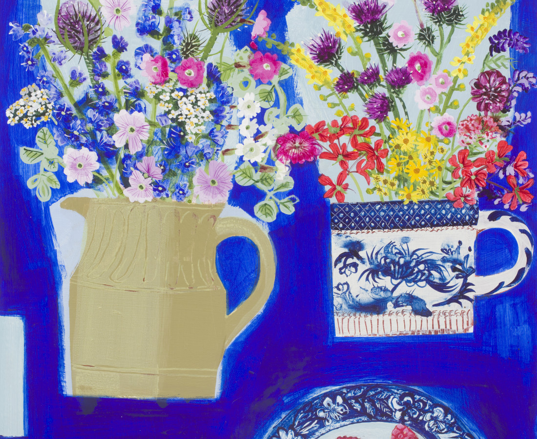 Emma Dunbar, Two Bunches and Raspberries on Blue