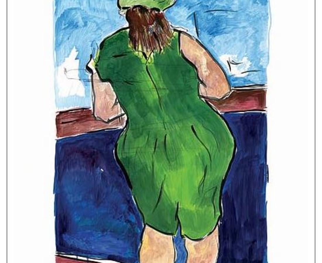 <span class=&#34;artist&#34;><strong>Bob Dylan</strong></span>, <span class=&#34;title&#34;><em>Woman In Red Lion Pub (green)</em>, 2008</span>