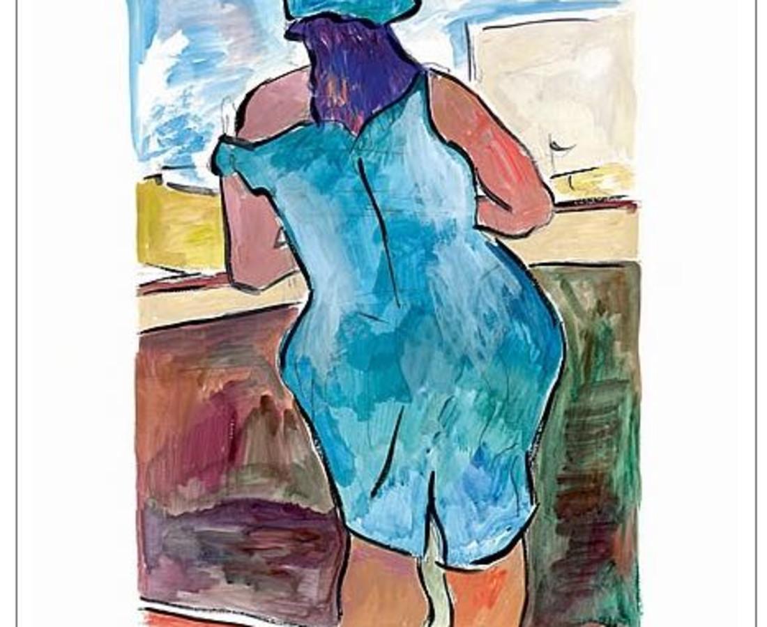 <span class=&#34;artist&#34;><strong>Bob Dylan</strong></span>, <span class=&#34;title&#34;><em>Woman In Red Lion Pub (blue)</em>, 2008</span>