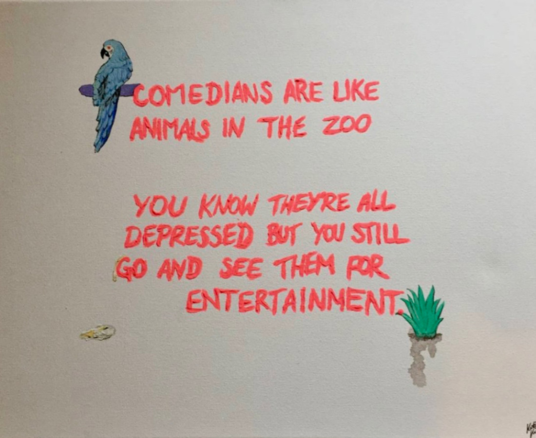 Katia Kvinge Comedians Zoo, 2019 Acrylic on canvas 40 x 51 cm 15 3/4 x 20 1/8 in