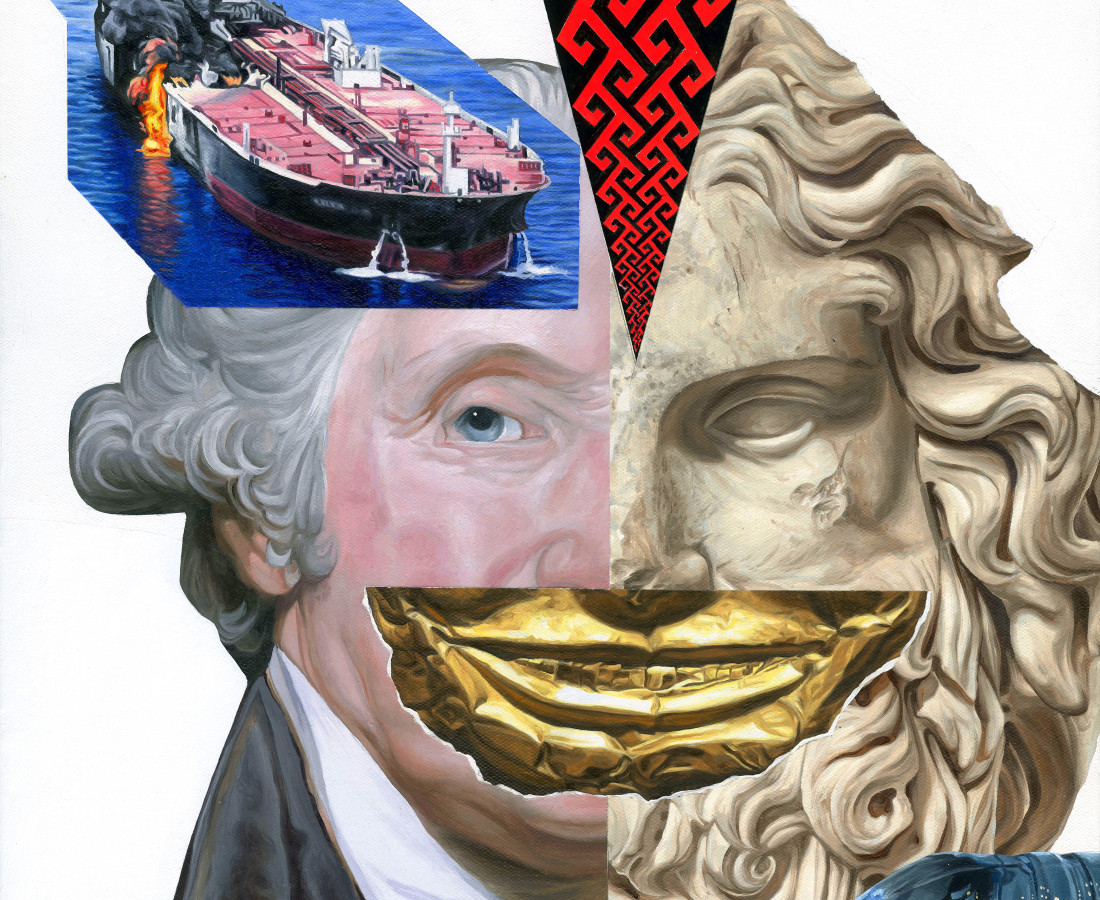 Jake Scharbach, Marble Head of Zeus Ammon, Roman, A.D. 120-160, George Washington, Gilbert Stuart, 1795, Funerary Mask, Indonesia, 14th Century, Tanker in the Gulf of Oman reportedly attacked- AP (Iranian Student News Agency), Plastic Water Bottle, Greek Border Design, 2019
